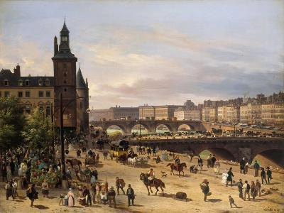 Le Marché aux fleurs, la Tour de l'Horloge, le Pont au Change et le Pont-Neuf-Giuseppe Canella-Giclee Print