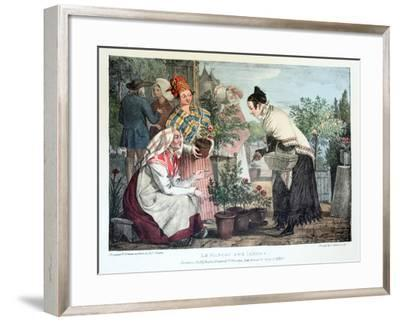 Le Marche Aux Fleurs, Published by Rodwell and Martin, 1820-John James Chalon-Framed Giclee Print