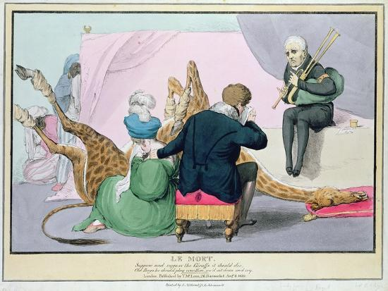 Le Mort', George IV (1762-1830), Caricature of the King Grieving the Death of the Giraffe-John Doyle-Premium Giclee Print