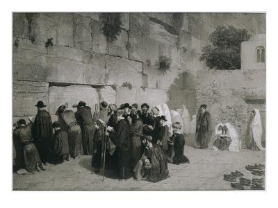 Le mur des lamentations à Jérusalem-Alexandre Bida-Giclee Print