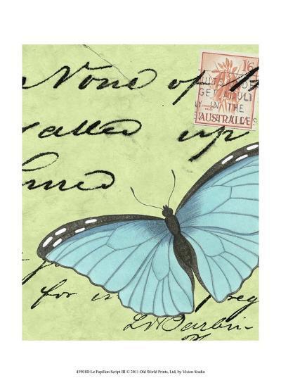 Le Papillon Script III--Art Print