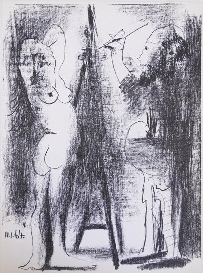 Le Peintre et son modele-Pablo Picasso-Serigraph