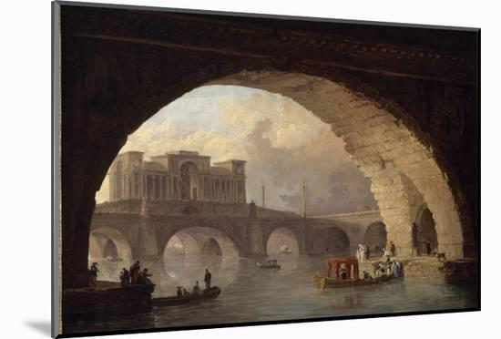 Le pont triomphal-Hubert Robert-Mounted Premium Giclee Print