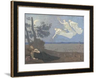 """Le rêve. """"Il voit dans son sommeil l'Amour, la Gloire et la Richesse lui apparaître""""-Pierre Puvis de Chavannes-Framed Giclee Print"""