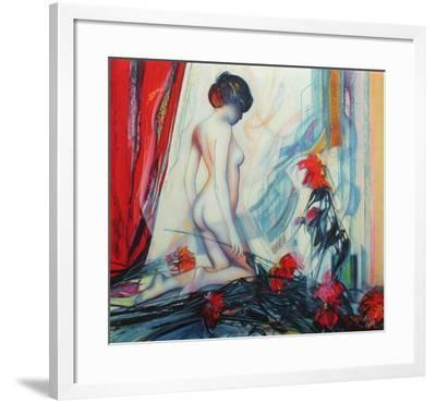 Le rideau rouge-Jean-Baptiste Valadie-Framed Premium Edition