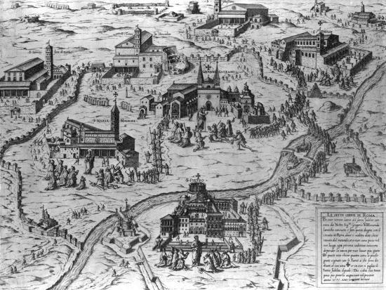 Le Sette Chiesa di Roma, 1575-Antonio Lafreri-Giclee Print