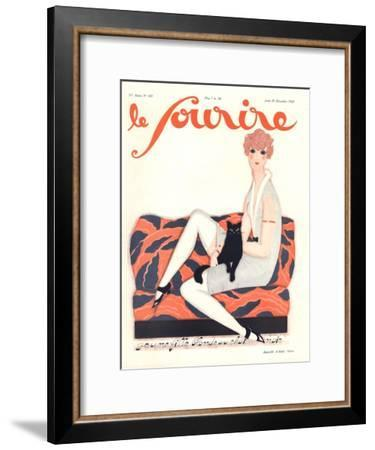 Le Sourire, Glamour Art Deco Pets Cats Womens Magazine, France, 1928--Framed Giclee Print