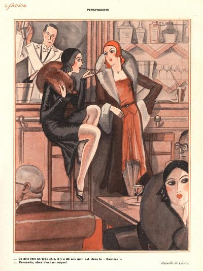Le Sourire, Glamour Bars Cocktails Alcohol Evening-Dress Cigarettes Smoking Magazine, France, 1920--Giclee Print