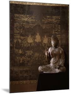 Le Taima Mandala (à l'arrière plan) ; L'Amida Nyorai (au premier plan)