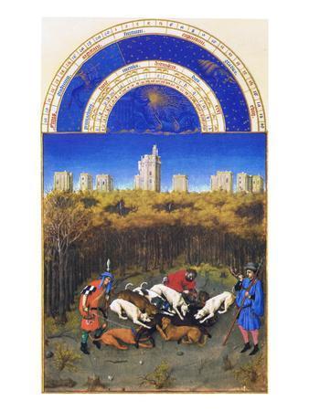 Le Tres Riches Heures Du Duc De Berry - December-Paul Herman & Jean Limbourg-Art Print