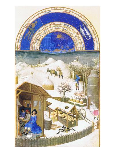 Le Tres Riches Heures Du Duc De Berry - February-Paul Herman & Jean Limbourg-Art Print