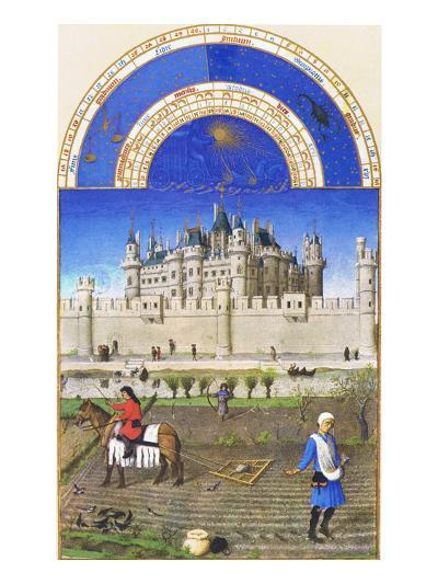 Le Tres Riches Heures Du Duc De Berry - October-Paul Herman & Jean Limbourg-Art Print