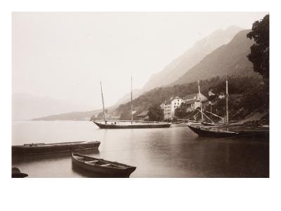 Le village de Saint-Gingolphe au bord du lac où sont ancrées barques et voiliers-Alexandre-Gustave Eiffel-Giclee Print