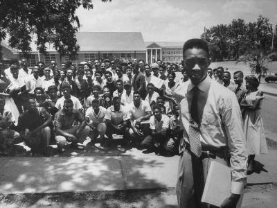 Leader Brodus Hartley W. Demonstrators at a and M Campus During Bus Boycott--Photographic Print