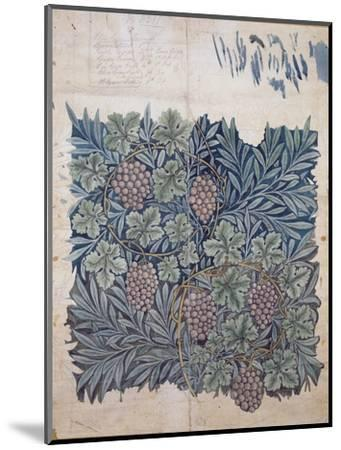 Leaf and Grape Design for 'Vine' Wallpaper (Pencil and W/C on Paper)-William Morris-Mounted Premium Giclee Print