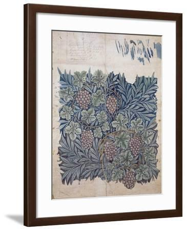 Leaf and Grape Design for 'Vine' Wallpaper (Pencil and W/C on Paper)-William Morris-Framed Giclee Print