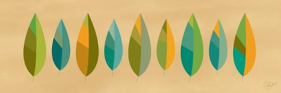 Leaf Line - Blue and Green on Natural-Dominique Vari-Art Print