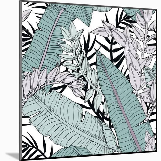 Leaf Pattern with Tropical Plants-Mirifada-Mounted Art Print