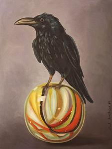 Crow on a Marble by Leah Saulnier