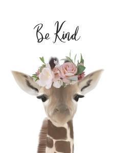 Floral Giraffe Be Kind by Leah Straatsma