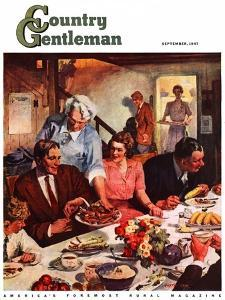 """Second Helping,"" Country Gentleman Cover, September 1, 1947 by Lealand Gustavson"