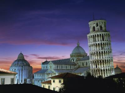 Leaning Tower, Duomo and Baptistery at Sunset in the City of Pisa, Tuscany, Italy--Photographic Print