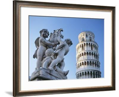 Leaning Tower of Pisa with Statue-Design Pics Inc-Framed Photographic Print