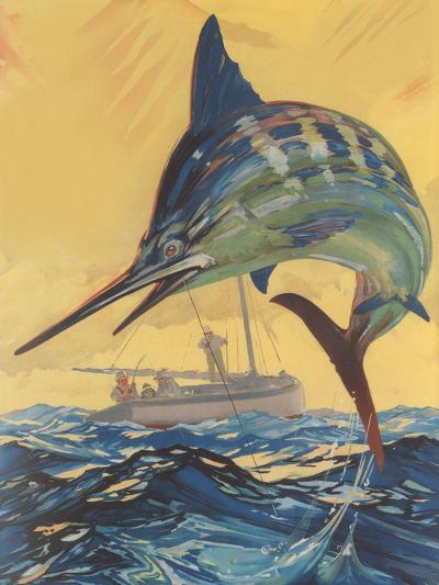 Leaping Marlin-Found Image Press-Art Print