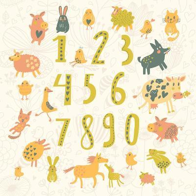 Learn to Count. All Numbers and Funny Cartoon Animals: Cat, Dog, Cow, Horse, Rabbit and Others in C-smilewithjul-Art Print