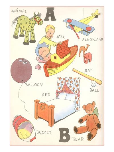 Learning the Alphabet, A and B--Art Print