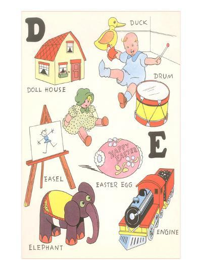 Learning the Alphabet, D and E--Art Print