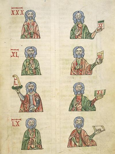 Learning to Count Using Fingers, Miniature from De Numeris, Manuscript, Italy 11th Century--Giclee Print