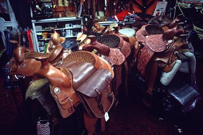 Leather Saddles in Ranchwear Store, Cheyenne, Wyoming, Usa, 1979-Alain Le Garsmeur-Photographic Print