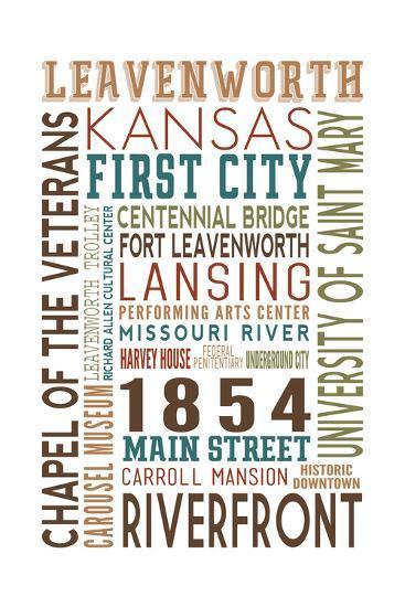 Leavenworth, Kansas - Typography-Lantern Press-Art Print