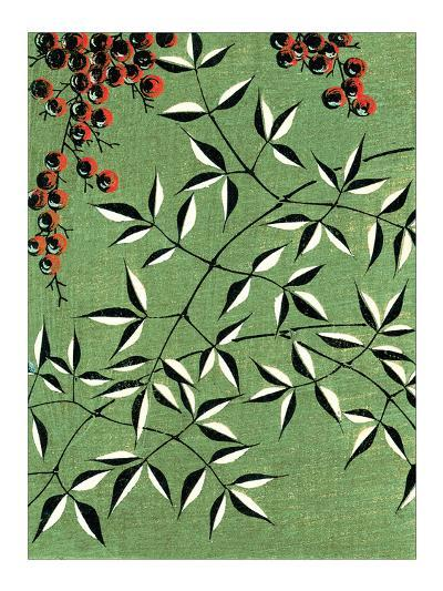 Leaves and Berries Kimono Design--Giclee Print