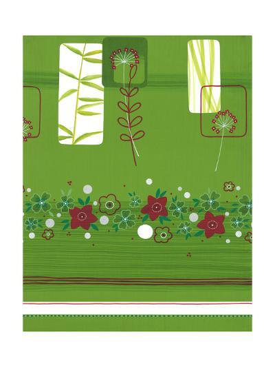 Leaves and Floral on Green--Art Print