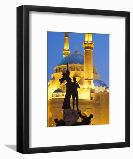 Lebanon, Beirut, Statue in Martyr's Square and Mohammed Al-Amin Mosque at Dusk-Nick Ledger-Framed Photographic Print