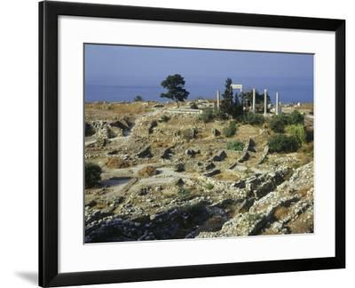 Lebanon, Byblos, Roman Colony with Temple of Baalat Gebal from 2700 B.C in Background--Framed Giclee Print