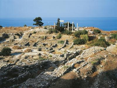 Lebanon, Byblos, Ruins of the Temple of Baalat Gebel and Roman Colonnade--Giclee Print