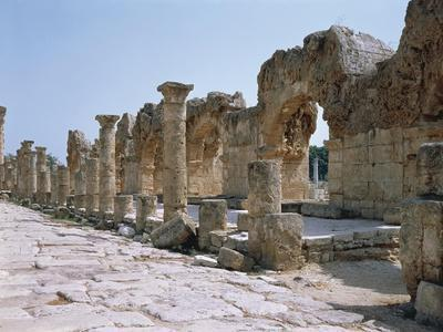 Lebanon, Tyre, Ruins of Old City of Tyre, Roman Street with Portico--Giclee Print