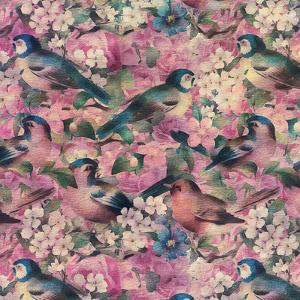 Vintage Bird Flower Pink - Square by Lebens Art