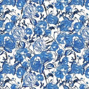 Vintage Flower Blue - Square by Lebens Art