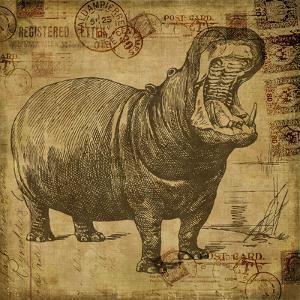 Vintage Hippo Sepia - Square by Lebens Art