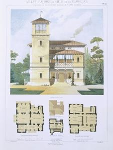 Design from 'Town and Country Houses Based on the Modern Houses of Paris', C.1864 (Colour Litho) by Leblanc