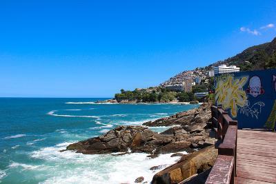 Leblon Beach and Favela Do Vidigal View- luizsouzarj-Photographic Print