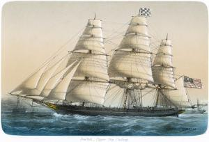 """The American Clipper Ship """"Challenge"""" of New York by Lebreton"""