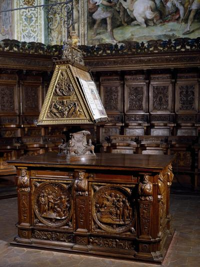 Lectern in Wooden Choir of St Peter's Basilica, Perugia, Detail, Italy, 16th Century--Giclee Print