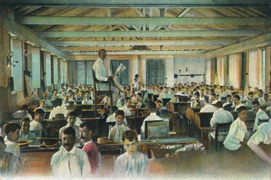 Lector reading to cigar rollers, Cigar Factory, Havana, Cuba, 1910s-Unknown-Giclee Print