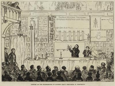Lecture at the Charterhouse on Stephen Gray's Discoveries in Electricity-George Cruikshank-Giclee Print