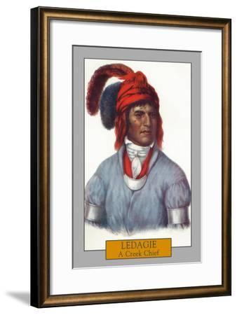 Ledagie - Portrait of a Creek Chief, c.1844-Lantern Press-Framed Art Print